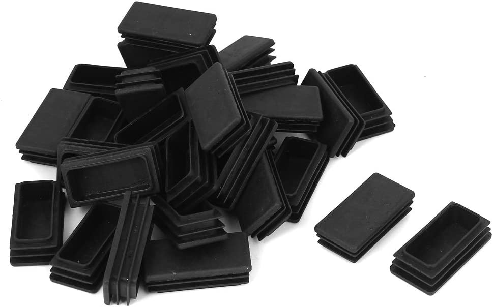 uxcell Plastic Rectangle Blanking End Tube Caps Inserts 25x50mm 30pcs Black