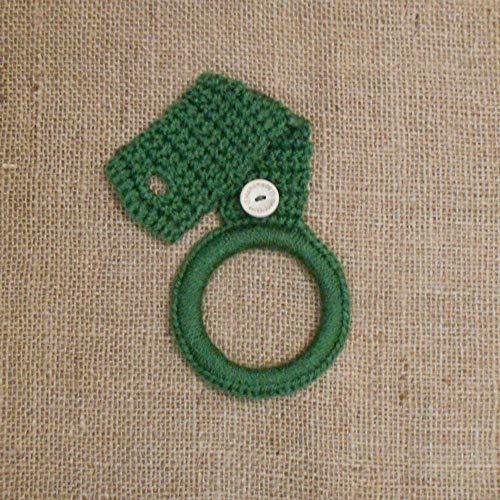 Dark Sage Green Crochet Hanging Dish Towel Holder, Kitchen Decor