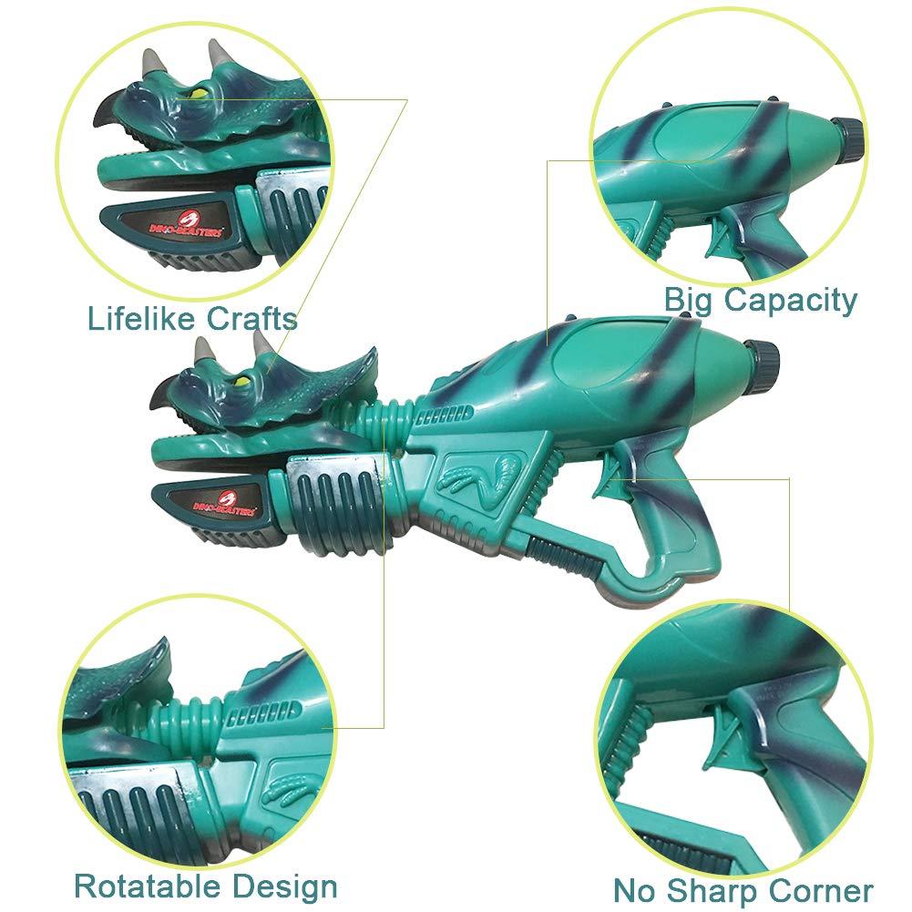 Ancaixin Dinosaur Water Gun Herrera & Triceratops Super Soaker Gun Set Summer Beach Pool Toys Big Squirt Blaster for Kids & Adults Red & Blue 2 Packs by Ancaixin (Image #4)