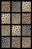 Black 5X8 Carved Africa Safari Animal Skin Modern Area Rug