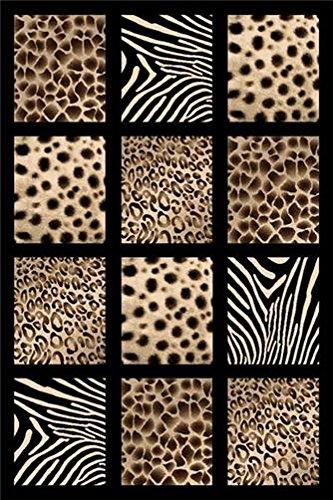 Black 2X4 Carved Africa Safari Animal Skin Modern Mat Rug by Persian Rugs