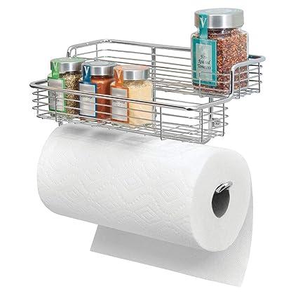 mDesign Portarrollos de cocina – Excelente dispensador de papel en metal con estantes para especias integrados