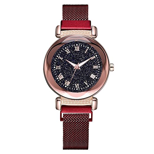 DAYLIN Relojes Mujer Chicas Marca Noctilucent Reloj Pulsera de Cuarzo Correa de Malla Reloj Magnetico Cielo Estrellado Wrist Watch Mujer Women Joya Regalos ...