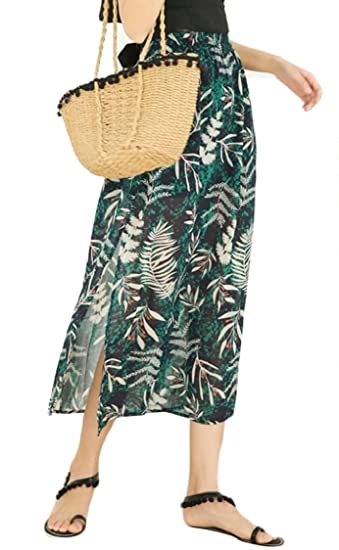 feb87609a Miracle Women's Floral Side Split Chiffon Maxi Beach Party Skirt at Amazon  Women's Clothing store: