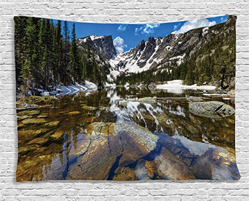 (Ambesonne Landscape Tapestry, Dream Mirroring Lake at The Mountain Park in West America River Snow Print, Wide Wall Hanging for Bedroom Living Room Dorm, 60