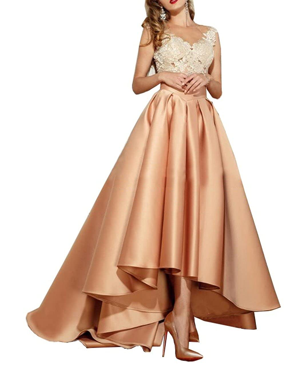 Champagne MariRobe Women's Lace Appliques Hilo Prom Gown Beaded Formal Dresses Illusion Back Prom Dress