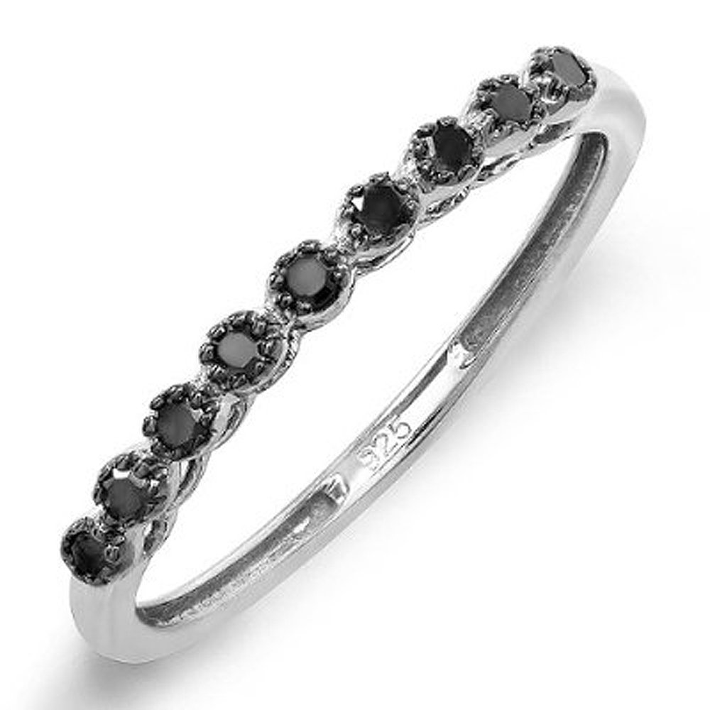0.20 Carat (ctw) Sterling Silver Round Black Real Diamond Wedding Anniversary Band 1/5 CT (Size 7)