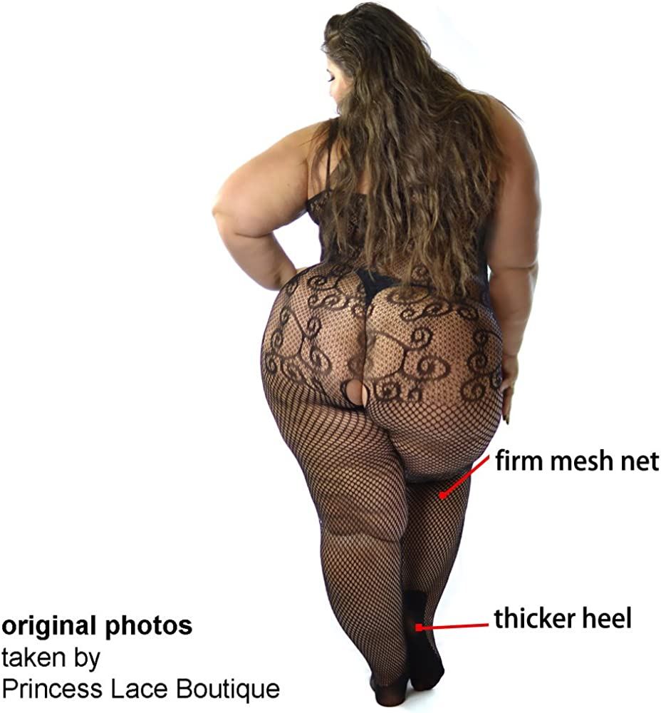 Lace Trimmed Bodystocking Bodysuit Ribbon Bow Peekaboo Plus Size