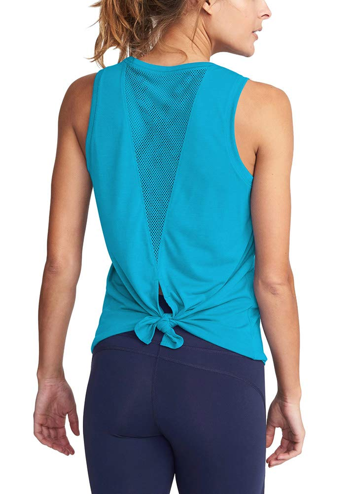 Mippo Cute Workout Tank Tops for Women Sleeveless Workout Clothes Open Back Work Out Shirts Woman Gym Yoga Shirts Muscle Tank Athletic Running Tank Tops Summer Tops for Women Blue Green L