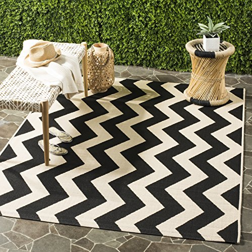 Safavieh Courtyard Collection CY6245-256 Black and Beige Indoor/ Outdoor Square Area Rug (8