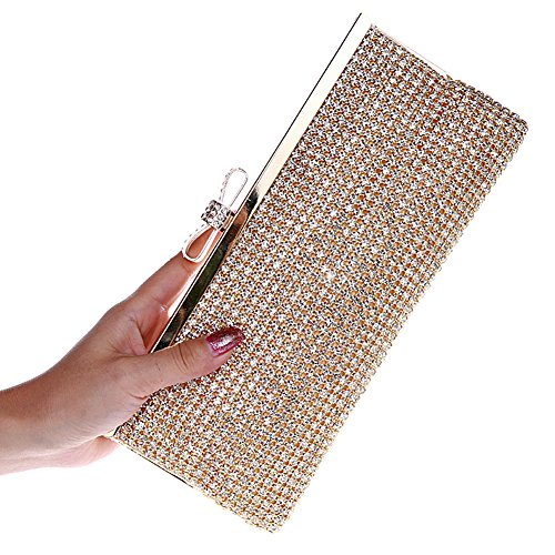 Ladies Evening Handbag Bag Diamante Girls Purse Gold Wedding Elegant Rhinestone Clutch Bag Bling ZOPrxZ