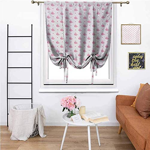 KFUTMD Farmhouse Roman Shades Baby Abstract Cartoon Valentines Hearts and Whales Love Nature Themed Ocean Inhabitants Pink White Fabric Roman Shades 48 x72 Inch
