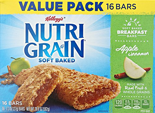 Kellogg's Nutri-Grain Cereal Breakfast Bars, Apple Cinnamon, 16 Count ()