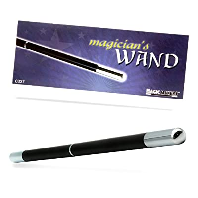 Magic Makers Pro Model Magician's Wand Black and Chrome - 13.5 Inches Real Wood with Metal Tips: Toys & Games