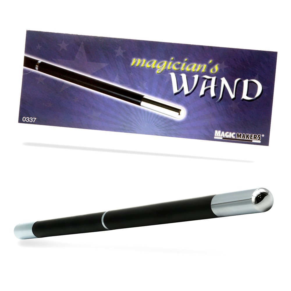 Magic Makers Pro Model Magician's Wand (Black & Chrome) - 13.5 Inches Real Wood with Metal Tips by Magic Makers