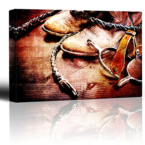 Spurs boots and braids Wood grain rustic artwork Cowboy boots and riding spurs braided leather
