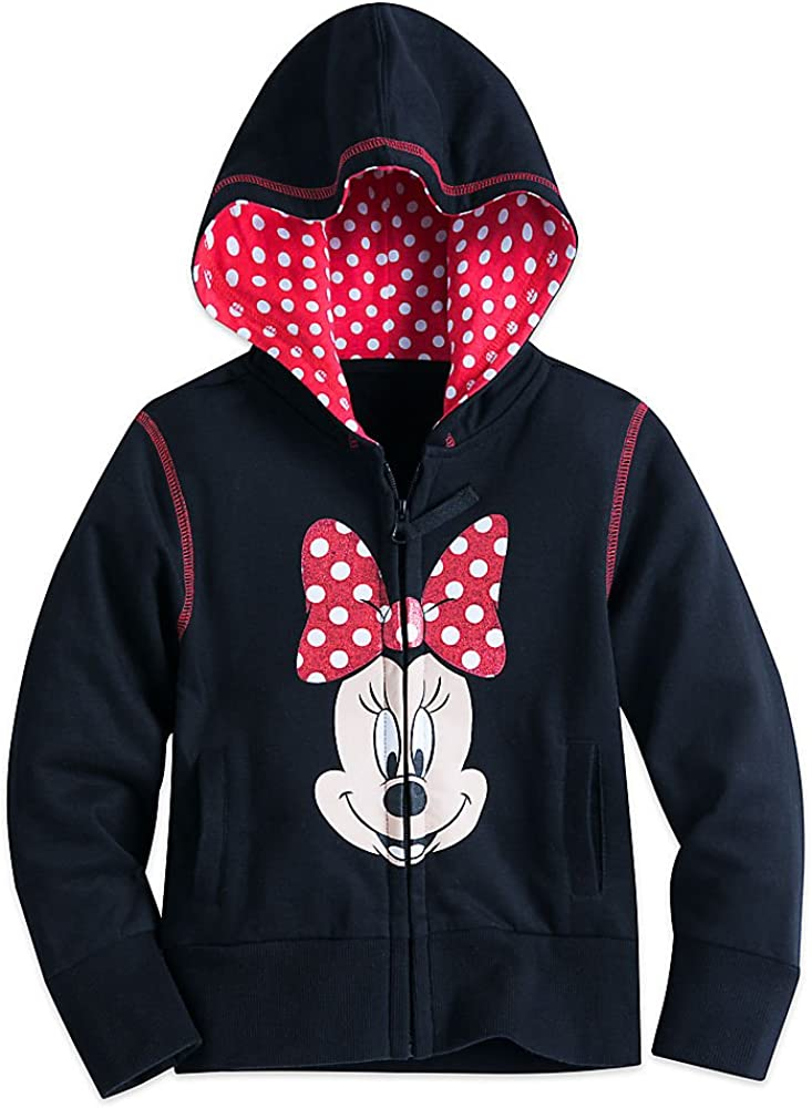 All-Over Hearts Girls Youth Zip Hoodie Youth Medium Blue Minnie Mouse