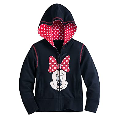 5c2f5cd291bf67 Amazon.com: Disney Minnie Mouse Zip Hoodie for Girls Black: Clothing