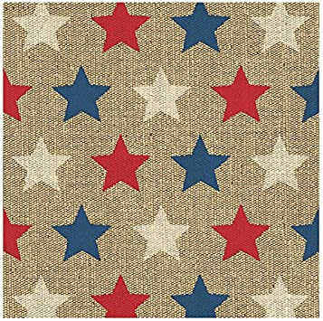 Disposable Paper Napkins Patriotic Party Supplies Metallic Silver Foil Stars Design Folded 5 x 5 inches 50-Pack Luncheon Napkins Cocktail Napkins Unfolded 10 x 10 inches 3-Ply