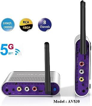 MEASY AV 530 5.8GHz 8 Canales Emisor RCA Inalámbrico de Audio Video transmiso Receptor 300m/1000ft (no es Compatible con la función remota IR)
