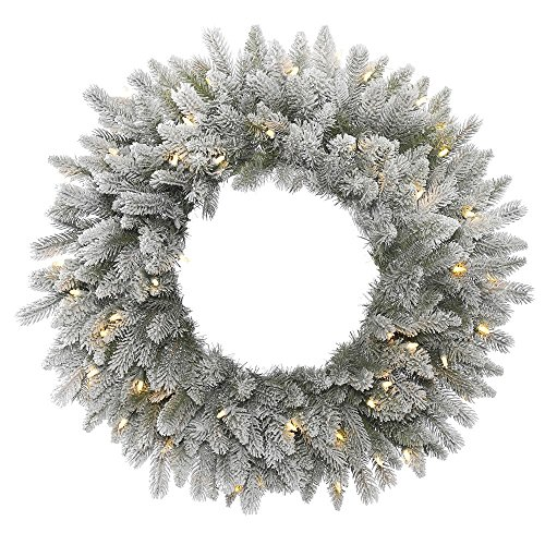 Vickerman Frosted Sable Pine Wreath with Iridescent Glitter, 135 Frosted PE/PVC Tips & 50 Italian LED Lights on Green Wire, 24