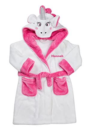 f4007e077 Hoolaroo Girl's Personalised Embroidered Unicorn Gown House Coat Bath Robe  ...