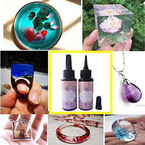 UV Resin Hard for DIY Jewelry Making Gule Type Ultraviolet Curing Solar Cure Resin Sunlight Activated Kawaii Crafts Transparent Clear (50g)