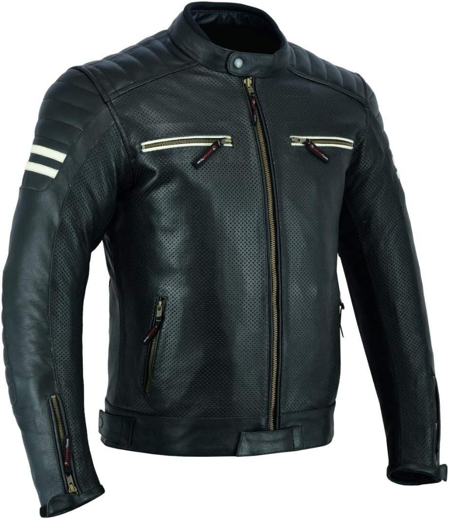 LJ-3027A Veste de moto en cuir pour homme avec armure respirante et perfor/ée Noir