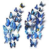 Mudder 3D Butterfly Stickers Wall Stickers for Home, Room Decoration, 24 Pieces (Blue, Purple Red) Picture