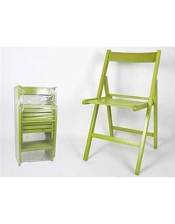 Silla Plegable Madera Color Verde (Precio por Unidad)