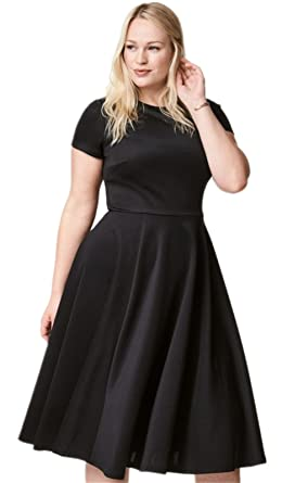 bb4df1a73f33 Plus Size Short Sleeve Crewneck Midi Mid Calf Length A-Line Dress Black US  14