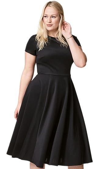 Plus Size Short Sleeve Crewneck Midi Mid Calf Length A Line Dress