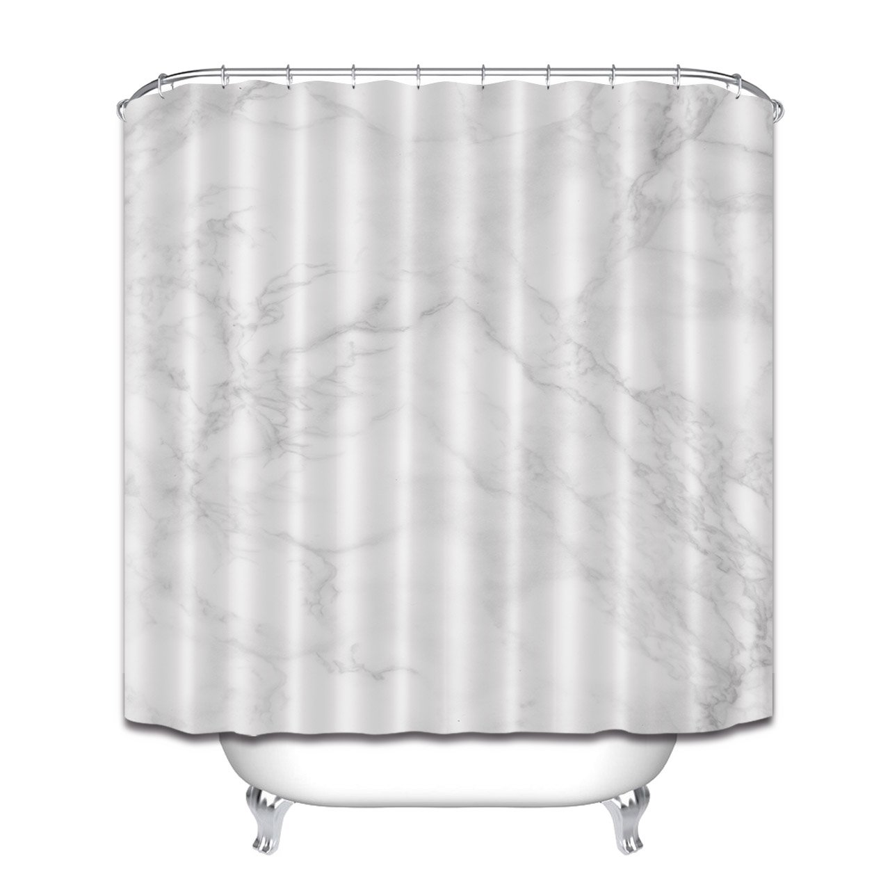 LB White Marble Shower Curtain3D Printing Pattern Modern Bathroom Decor Waterproof Mildew Resistant Polyester Fabric Bath Curtain 72 X72 Inches