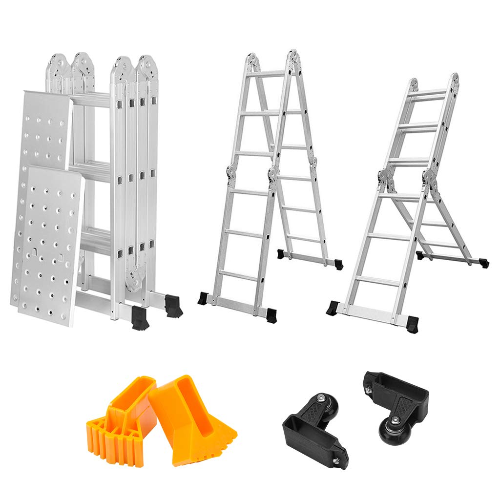 4.7M EN131 Multi-purpose Aluminum Ladder Big Hinges 150KG Capacity with Platform