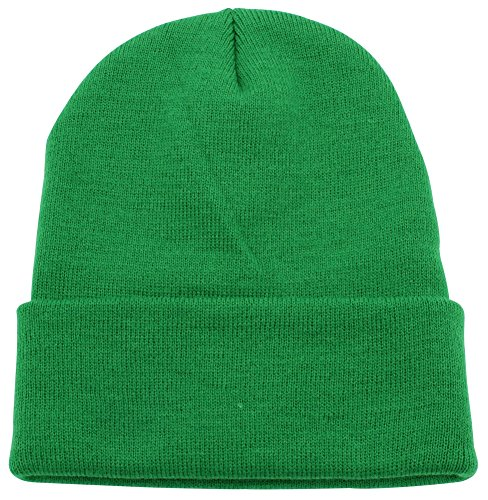 Top Level Unisex Cuffed Plain Skull Beanie Toboggan Knit Hat/Cap, Kelly (Green Knit Beanie Cap Hat)