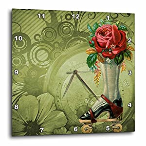3dRose Vintage Victorian Steampunk Roller Skate Boot with Red Rose Clock Background – Wall Clock, 10 by 10-Inch (DPP_102680_1)