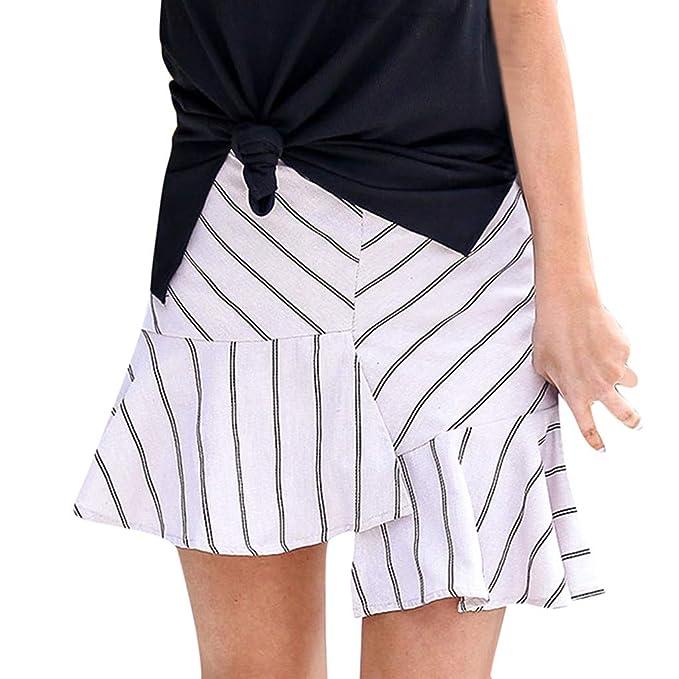 Faldas Mujer Cortas,Moda Mujer Raya de impresión Volantes ...