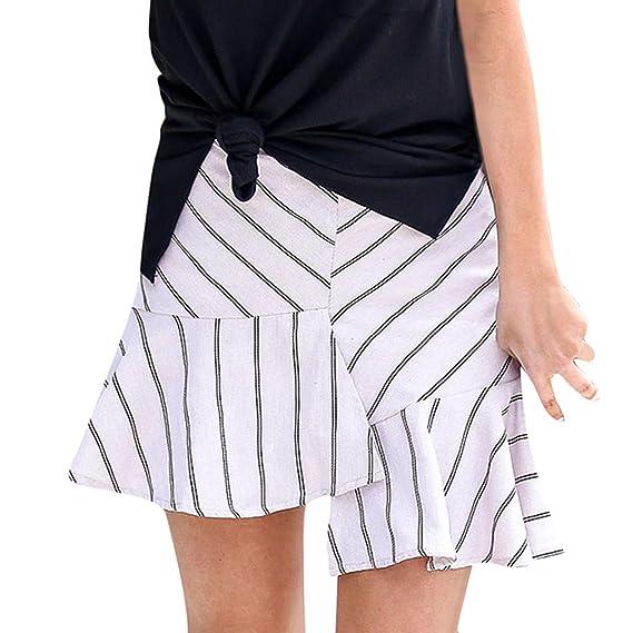Faldas Mujer Cortas,Moda Mujer Raya de impresión Volantes Sandy ...
