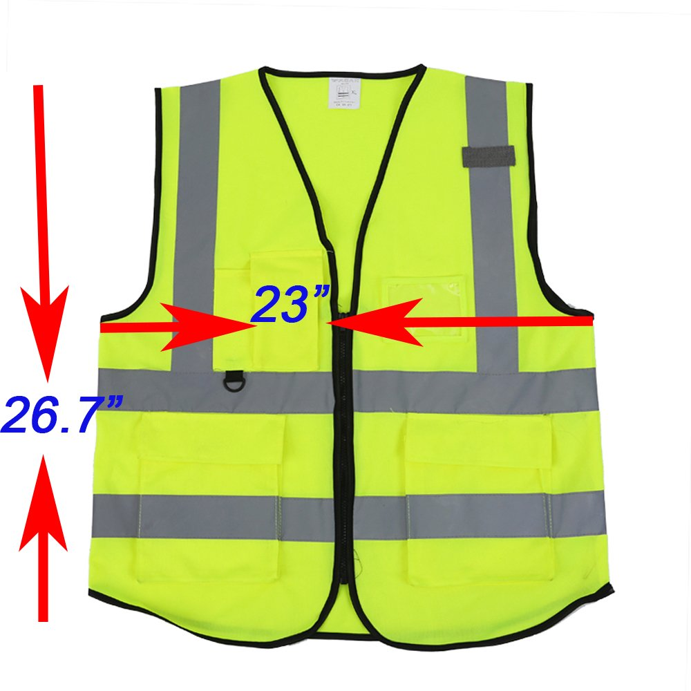 ZOJO High Visibility Reflective Vests,Lightweight Mesh Fabric, Wholesale Safety Vest for Outdoor Works, Cycling, Jogging,Walking,Sports-Fits for Men and Women (Pack of 10, Neon Yellow) by zojo (Image #7)