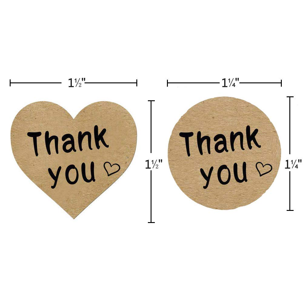 Thank You Stickers Roll 1000pcs Adhesive Labels Kraft Paper with Black Hearts, Decorative Sealing Stickers for Christmas Gifts, Wedding, Party by Vinkki (Image #3)