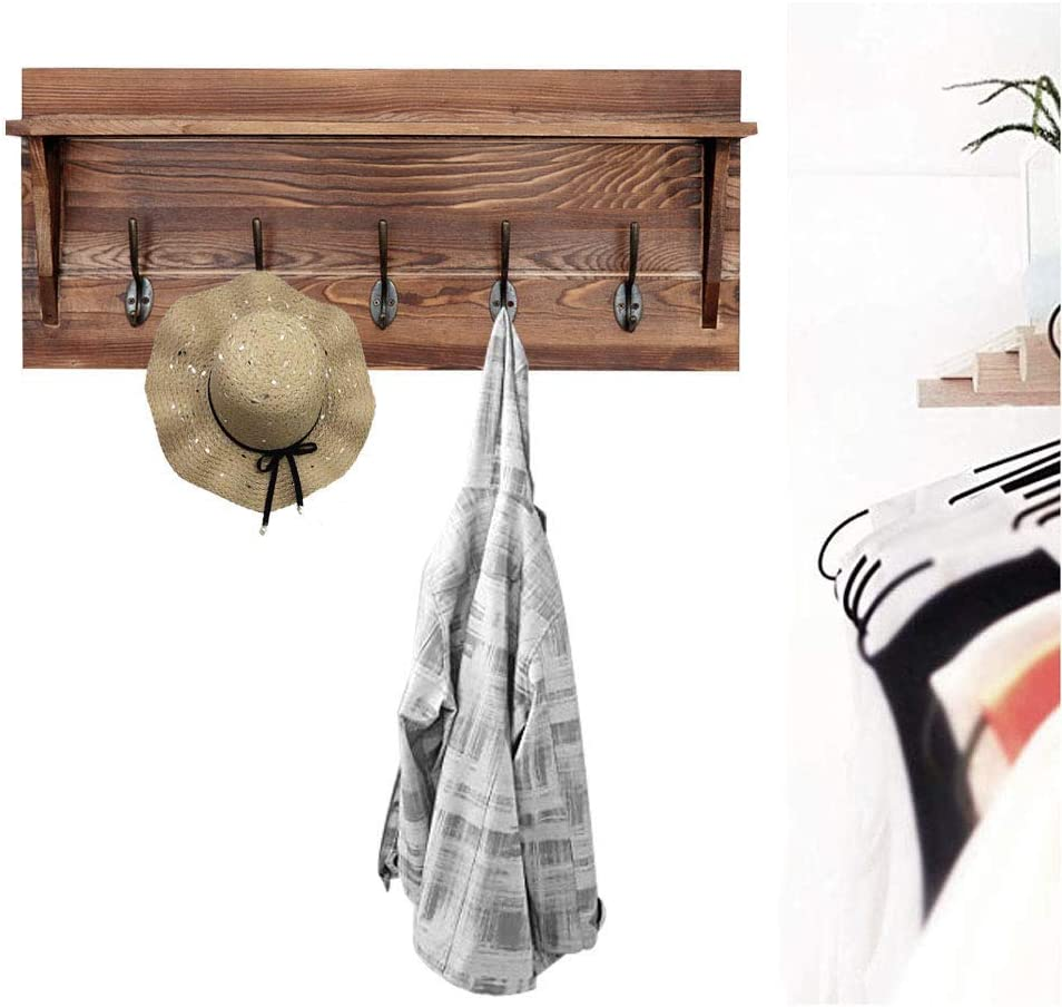 """Rustic Wall Mounted Coat Rack Shelf - Brown Wooden Country Style 24"""" Entryway Shelf with 5 Rustic Hooks - Solid Pine Wood. Perfect Touch for Your Entryway, Mudroom, Kitchen, Bathroom"""
