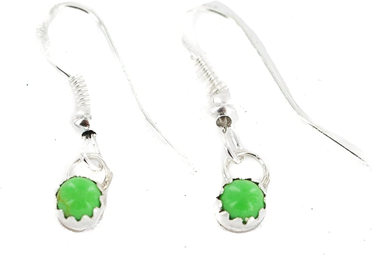 $60Tag Certified Silver Navajo Natural Gaspeite Native Dangle Earrings 27233-3 Made By Loma Siiva