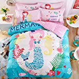 Svetanya Cartoon Mermaid Duvet Cover Set Flat Sheet Pillow Cases 400TC 100% Soft Cotton Fabric Queen Size 200x230cm Bedding Sets