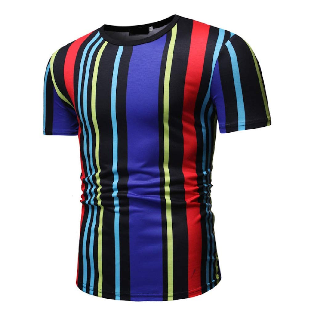 Mfasica Mens Summer Multicolor Striped Printed Short Sleeve Silm Fit Round Collar T-Shirt Top
