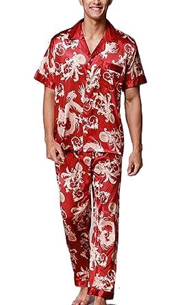 7cc8a1822be3 Smeiling Mens Silk Satin Cozy Pajamas Set Sleepwear Loungewear at ...