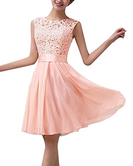 ZANZEA Womens Lace Formal Mini Prom Dresses Cocktail Ball Gown Evening Party Bridesmaid Dress Pink US