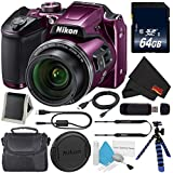 Nikon COOLPIX B500 Digital Camera (Purple) + 64GB SDXC Class 10 Memory Card + Flexible Tripod with Gripping Rubber Legs + Small Soft Carrying Case + Micro HDMI Cable + SD Card USB Reader Bundle