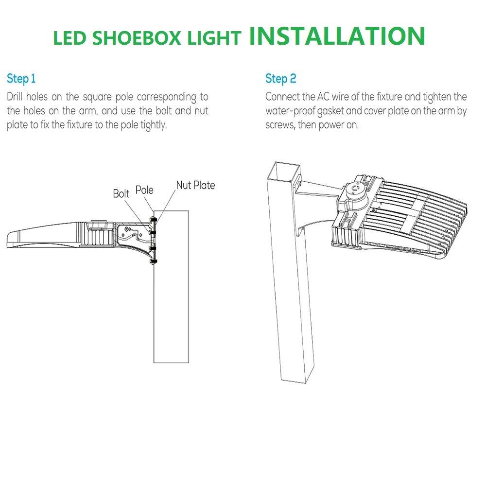 1000led 100w Led Shoebox Light Cri 80ra 400w Hid Hps Parking Lot Pole Wiring Diagram
