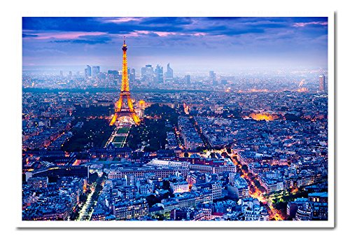 View Over Paris France Poster Cork Pin Memo Board White Framed - 96.5 x 66 cms (Approx 38 x 26 inches)