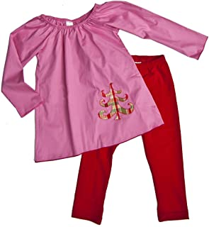 product image for Cheeky Banana Sweet Little Girls Christmas Tree Top & Leggings, Coral & Red